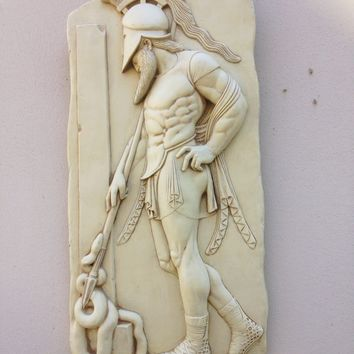 Greek Warrior in Helmet Stele Wall Fragment Relief 28H