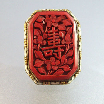 Vintage Chinese Export Carved Cinnabar Enamel Dress Clip, Art Deco Stamped China