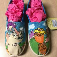 The Lorax  and Horton Hears A Who Dr Suess Hand Painted Shoes Vans Toms CONVERSE