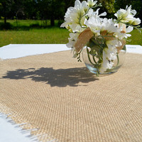 Burlap Table Topper, 36 x 36 Natural Burlap Table Square Overlay, Rustic Wedding Decor