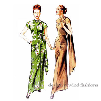 40s EVENING Gown Asian Inspired FILM NOIR Dress Pattern Vogue 2494 Vintage Original Design 1948 Reissue Bust 34 36 38 UNCuT Sewing Patterns