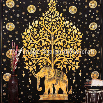 Elephant Tie Dye Tapestries, Hippie Tapestry , Queen Tree of Life Tapestries , Wall Tapestries , Bohemian Tapestries, Elephant Tree Tapestry