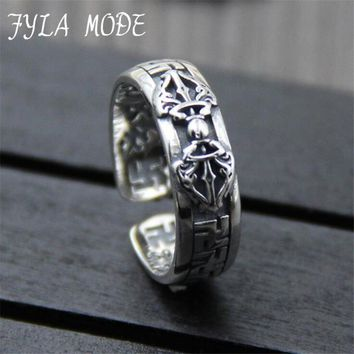 FYLA MODE Genuine 100% 925 Sterling Silver Vintage Punk Personalized King Kong pestle Scripture Ring For Women Men Fine Jewelry