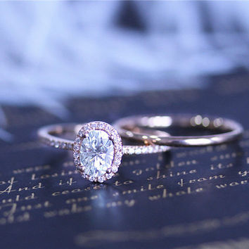 Payment Plan for jessimus2010/ First Payment 5x7mm Oval Moissanite Ring Set size US6.5