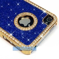 LiViTech(TM) Cushion Quilted Designer Diamond Rhinestone Crystal Bling Case iPhone 4 4S (AT&T ,VERIZON,SPRINT) (Sparkly Blue)
