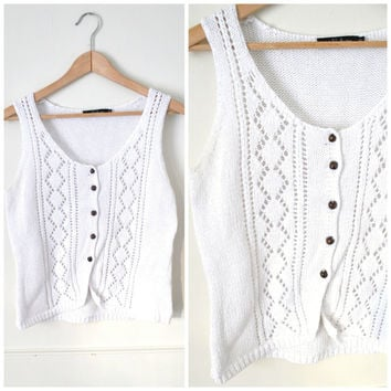 white BOHO knit tank / vintage RELAXED fit ivory WHITE hippie crop top vest / small medium
