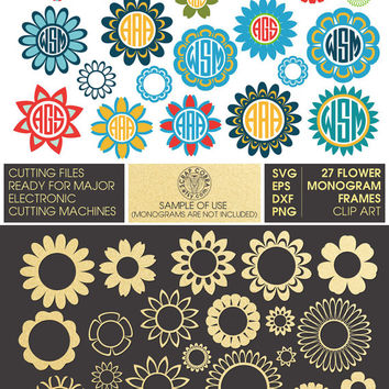 27 Flower Monogram Frames - SVG, eps, DXF, png - Digital Downloads - Cut Files for Silhouette, Cricuit, die cutting machines - CV-609