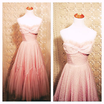 1950s Pink Lady Tulle and Eyelet Strapless Party Dress / 1950s Pink Eyelet Tulle Gown with Extra Full Skirt