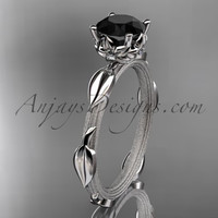 Platinum diamond vine and leaf wedding ring, engagement ring with a Black Diamond center stone ADLR290