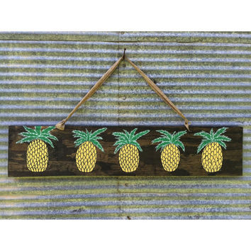 Large handmade pineapple wood hanger