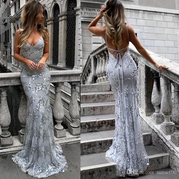New women shiny sequined dress sexy V-neck halter party evening dress wrapped chest ladies long skirt