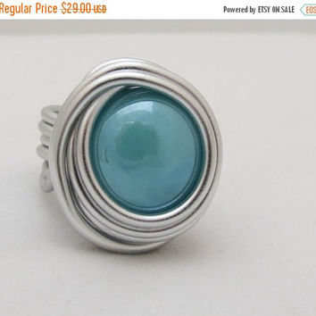 Turquoise Cabochon Ring, Wire Silver Ring, Turquoise Silver Ring, All Size Ring, Wire Wrapped Ring, Unique Ring , Stylish Ring, Silver Ring