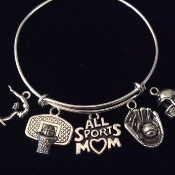 All Sports Mom Expandable Silver Charm Bracelet Football Baseball Basketball Gymnastics Adjustable Wire Bangle Gift Trendy Stacking Bangle