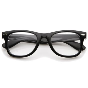 Classic Thick Square Clear Lens Horn Rimmed Eyeglasses 50mm