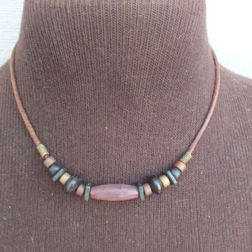 Wood Bead, Cylinder and Squares Choker Necklace with Leather Cord. Pretty Vintage Southwestern Style Jewelry, Free Shipping and Gift Box