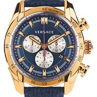 Men's Versace 'V-Ray' Chronograph Leather Strap Watch, 44mm - Blue/ Rose Gold