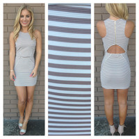 Mocha Stripe Open Back Mini Dress