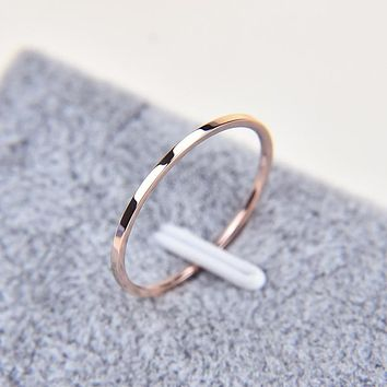 1MM Thin Titanium Steel Silver-color Couple Ring Simple Fashion Rose Gold Finger Ring For Women and Men mens gifts