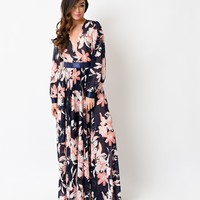 1970s Style Navy & Coral Floral Long Sleeve Belted Maxi Dress