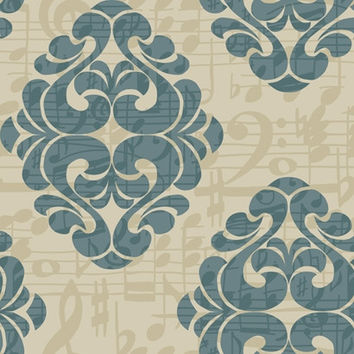 Sample of Tone on Tune Wallpaper in Blue, Beige, and Metallic by York Wallcoverings