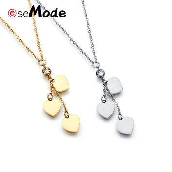 ELSEMODE Rhinestone Love Three Heart Charm Pendant Necklaces Stainless Steel for Women Rose Gold Wedding Necklace Bijoux Gifts