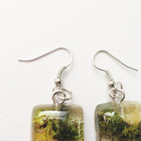 Moss Resin Earrings Fishook Dangle Spring Green Square Dome