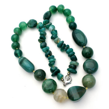"""Green Agate Gemstone Bead Necklace 23"""""""