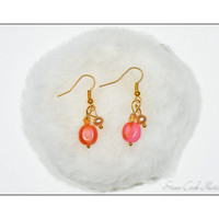 Pink beaded earrings, gold tone, glass, crystals, pearl, pierced, dangle, ear wires, classic women's summer jewelery