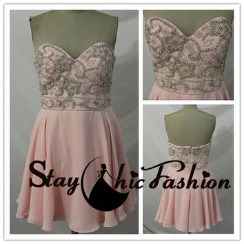 Womens Pink Short Strapless Floral Shaped Beadeding Top Chiffon Prom Dresses, Royal Beaded Top Short Strapless Homecoming Dresses 2015
