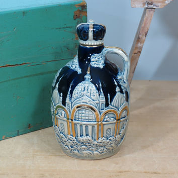 Vintage Ceramic Decanter Music Box . Colbalt Blue with Gold Accents . Castle Scene Jug with Crown Stopper . Circa 1960 Japan . Liquor Bottle