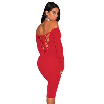 Women Clubwear Party Off Shoulder Backless Sexy Strappy Pencil Sheath Dress