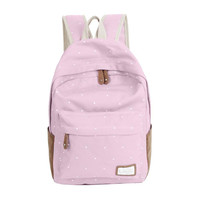 Trendy casual canvas backpack women fashion school bags for girls dot printing backpack shoulder