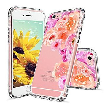 iPhone 6s Case, Clear iPhone 6 Case, MOSNOVO Watercolor Roses Floral Printed Flower Clear Design Transparent Plastic Hard Back Case with TPU Bumper Protective Case Cover for iPhone 6 6s (4.7 Inch)