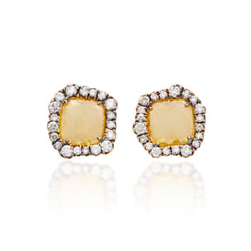One-Of-A-Kind Yellow Diamond Slice Studs | Moda Operandi