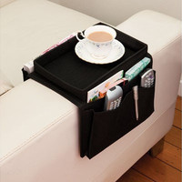 Arm Rest Chair Settee Couch Sofa Remote Control Table Top Holder Organiser Tray (Color: Black)