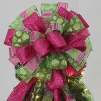 Lime Green Hot Pink Christmas Tree Topper Bow