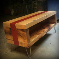 Salvaged floor beam coffee table