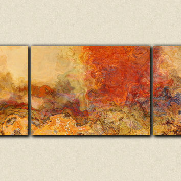 "Extra large triptych abstract art, 30x72 to 40x90 giclee canvas print, in red orange and tan, ""Magma"""