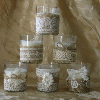 Vintage IVORY  lace wedding tea candles, Victorian wedding centerpiece, Indian wedding decor, French Country wedding vase, Vintage wedding,