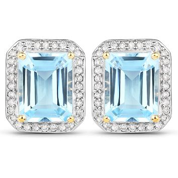 14K Gold Natural Emerald Cut 5.49TCW Blue Topaz & White Diamond Earrings