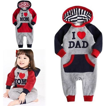 "NWT Baby Toddler Kids' Boy Girl Bodysuit Romper Sleepwear ""Hoodie Mom Dad"" 7_S = 1905946884"