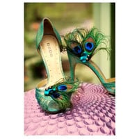 Fancy Shoe Clips Peacock & Teal Bow. Spring Big Day Sophisticated Bride Bridesmaid, Bridal Party Gift, Burlesque Boudoir, Turquoise  Aqua