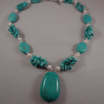 Howlite Turquoise and Freshwater Pearl Necklace