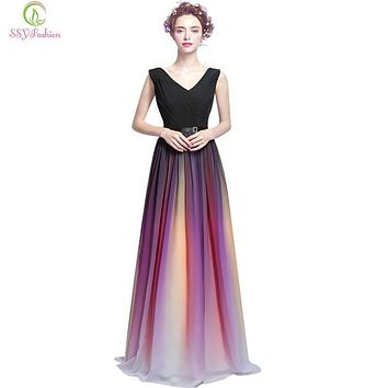 Robe De Soiree SSYFashion Gradient Color Chiffon Sexy Deep V Collar Long Evening Dress Bride Banquet Elegant Party Prom Dresses
