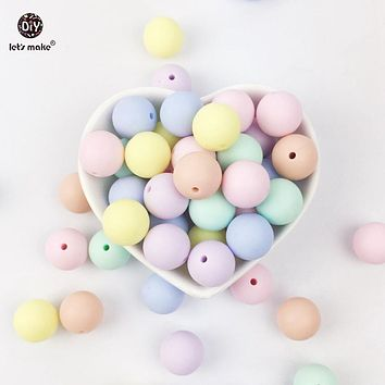 Let's Make Silicone Teether Round Candy Color 100PC 12-20mm Accessories Beads Infant Necklace Pendant DIY Nursing Baby Teether