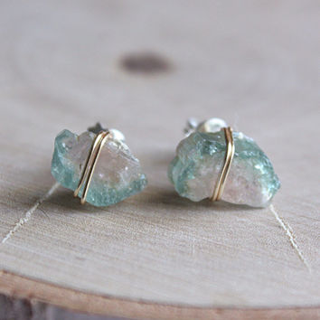 Watermelon Tourmaline Raw Crystal Stud Earrings, healing crystals and stones, october birthstone, bohemian Hippie Jewelry