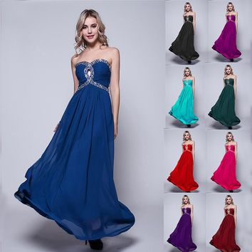 ZJ0003 strapless with crystal elegant long coral pink blue royal chiffon new fashion party formal gown evening prom dresses 2015