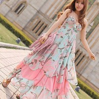 Bohemain Style Chiffon Flounced Halter Dress8*FREE SHIPPING**