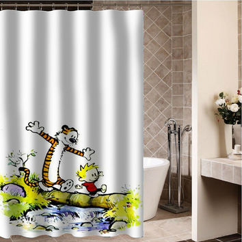 "Calvin and Hobbes 2 Custom Shower curtain,Sizes available size 36""w x 72""h 48""w x 72""h 60""w x 72""h 66""w x 72""h"