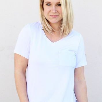 White V-Neck Piko Pocket Tee